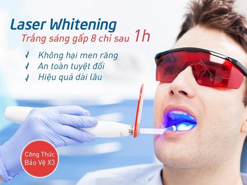 Tẩy trắng răng bằng laser có hại không